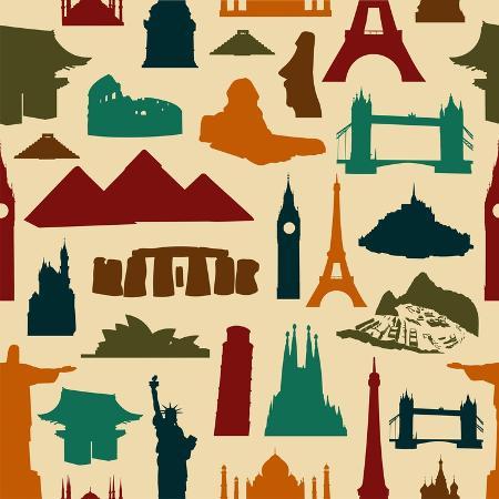 cienpies-world-landmark-silhouettes-pattern