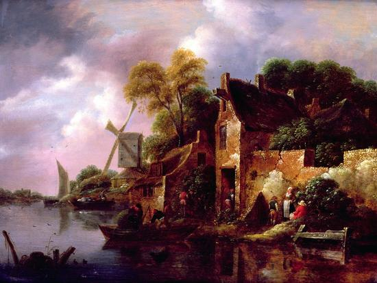 claes-molenaer-houses-and-a-windmill-by-a-river-with-boats-and-fisherfolk