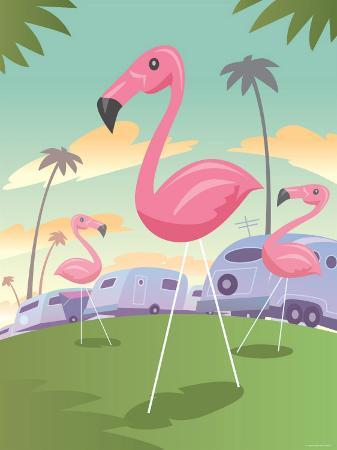 classic-pink-flamingo-lawn-ornaments-in-tropical-campground