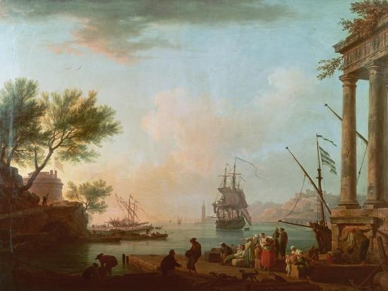 claude-joseph-vernet-sea-port-sunrise-1757