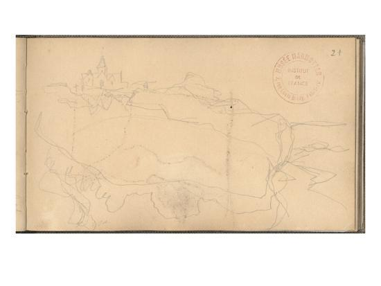 claude-monet-cliff-and-church-of-varengeville-pencil-on-paper