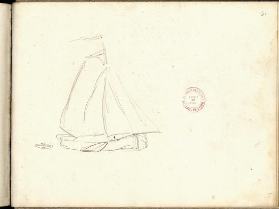 claude-monet-dutch-boat-pencil-on-paper
