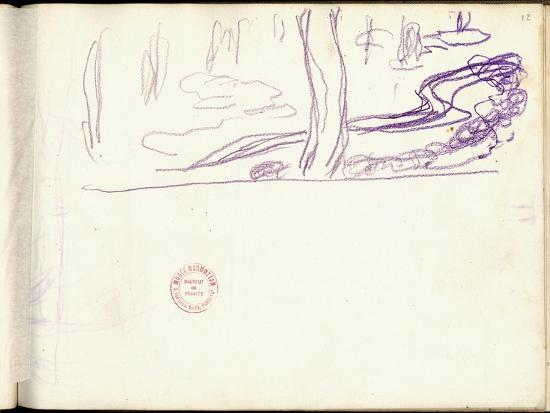 claude-monet-willow-and-water-lilies-purple-pencil-on-paper