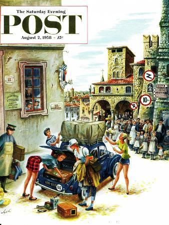 constantin-alajalov-coed-tourists-in-italy-saturday-evening-post-cover-august-2-1958