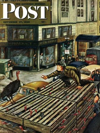 constantin-alajalov-turkey-loose-atop-truck-saturday-evening-post-cover-november-27-1948