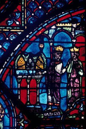 constantine-presents-relics-to-charlemagne-stained-glass-chartres-cathedral-france-c1225