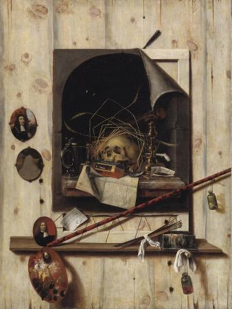 cornelis-norbertus-gysbrechts-trompe-l-oeil-with-studio-wall-and-vanitas-still-life-1668
