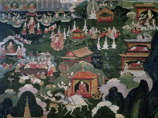 cremation-and-distribution-of-relics-roll-showing-scenes-from-shakyamuni-buddha-s-life-tibet