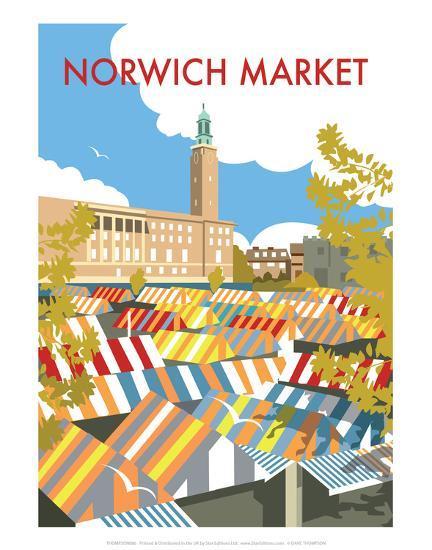 norwich market dave thompson contemporary travel print. Black Bedroom Furniture Sets. Home Design Ideas