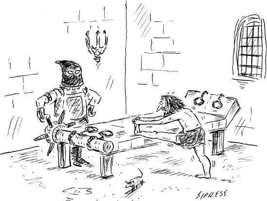 david-sipress-a-prisoner-is-seen-stretching-on-a-torture-rack-next-to-an-anxious-looking-new-yorker-cartoon