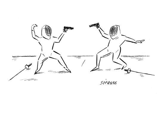 david-sipress-two-fencers-have-laid-down-their-swords-and-are-prepared-to-duel-with-guns-new-yorker-cartoon