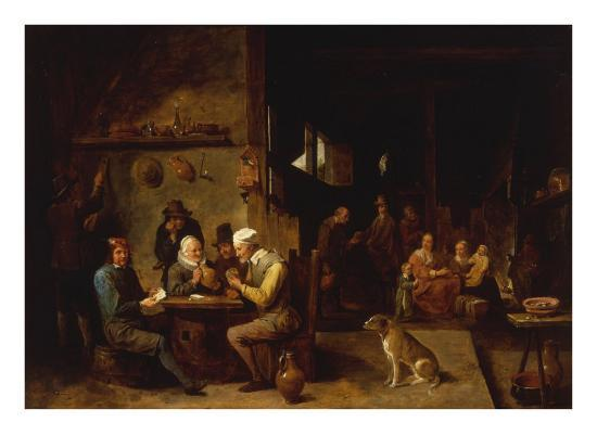 david-teniers-the-younger-a-farmhouse-interior-with-peasants-at-a-table-playing-cards