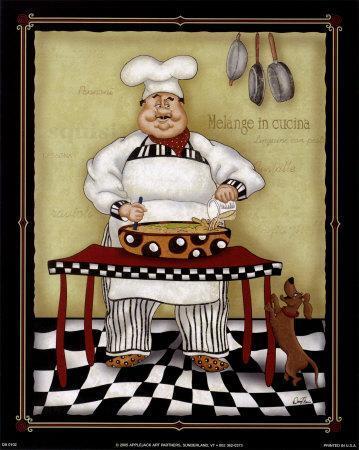 Stirring chef art print by dena marie at - Cuadros para la cocina ...