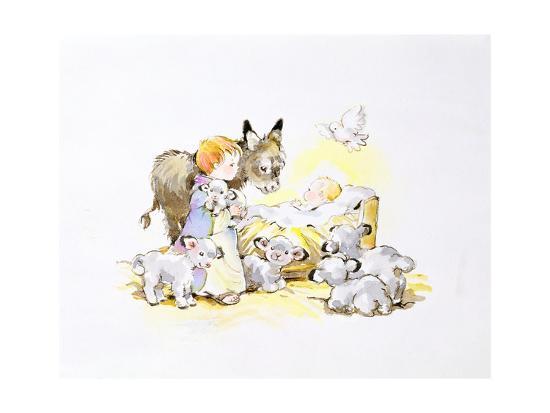 diane-matthes-donkey-and-lambs-around-a-manger