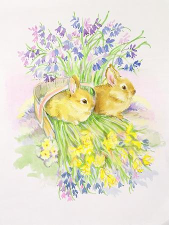 diane-matthes-rabbits-in-a-basket-with-daffodils-and-bluebells