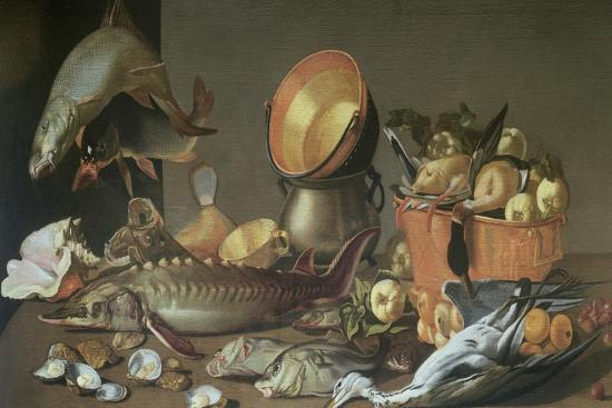 dirck-govertsz-a-still-life-of-a-sturgeon-and-other-fish-ducks-and-a-heron