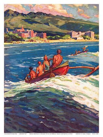 donald-easton-on-the-beach-at-waikiki-royal-hawaiian-and-moana-seaside-hotels-surfing-in-outrigger-canoes