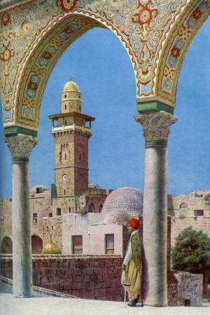 donald-mcleish-islamic-minaret-on-temple-mount-jerusalem-palestine-c1930s