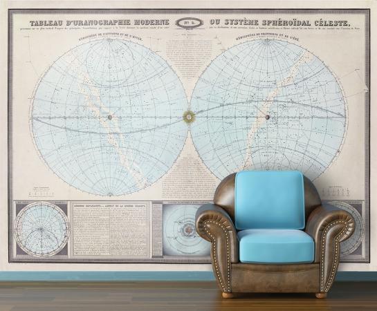 double-hemisphere-1862-tableau-moderne-vintage-self-adhesive-wallpaper