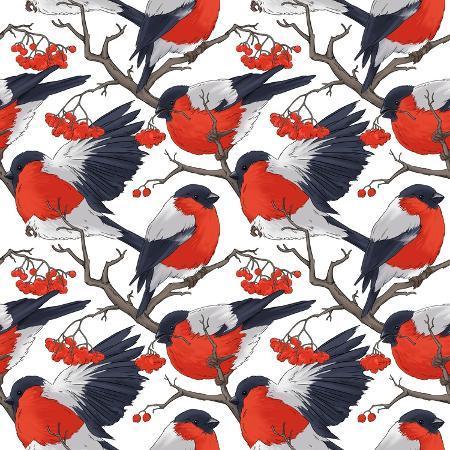 doublebubble-bullfinch-bird-winter-illustration-seamless-pattern