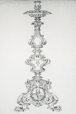drawing-with-preparatory-study-for-candelabra-in-brass