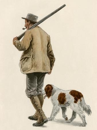 duck-hunter-with-his-gun-dog-circa-1900