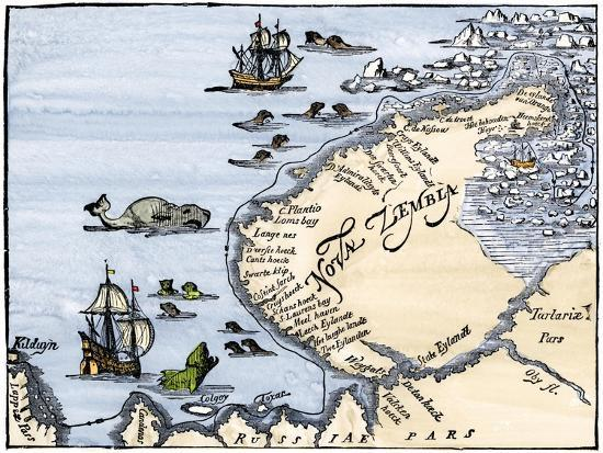 early-map-showing-nova-zembla-off-the-arctic-coast-of-russia-probably-1600