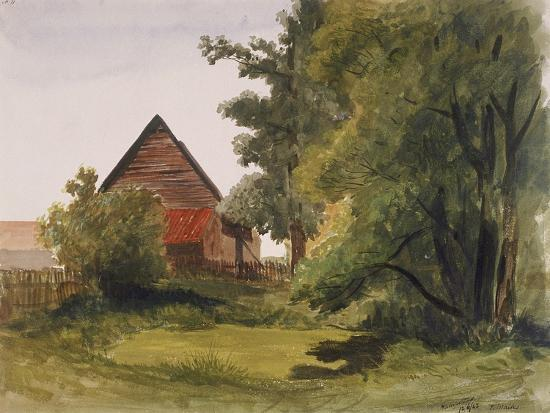 edmund-marks-view-of-hampstead-with-a-barn-on-the-left-hampstead-camden-london-1842