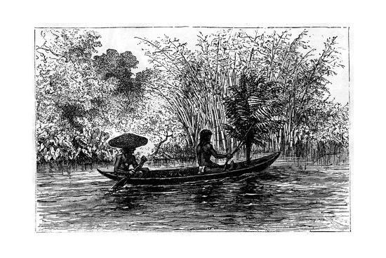edouard-riou-dugout-in-the-essequibo-river-guyana-19th-century