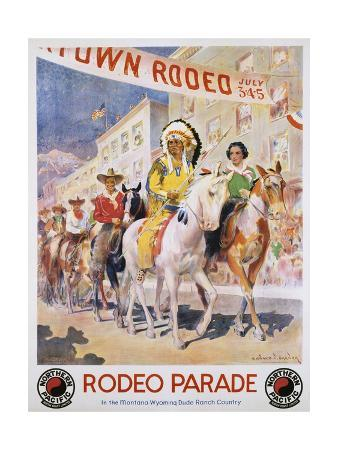 edward-brener-rodeo-parade-northern-pacific-railroad-poster