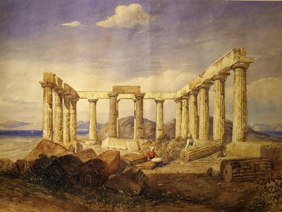 edward-dodwell-temple-of-aphaia-aegina-built-c-500-bc-watercolour-c-1805