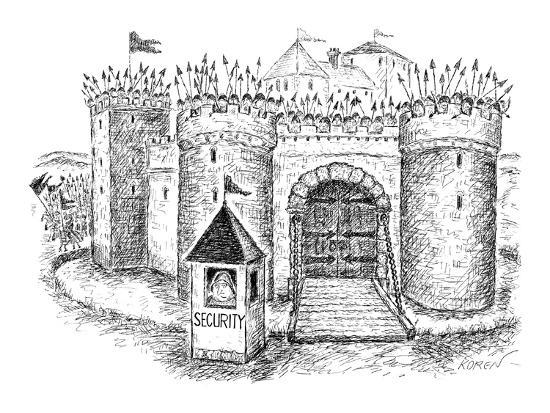 Castle with a small booth labeled security just outside the front castle with a small booth labeled security just outside the front gate new yorker cartoon gumiabroncs Gallery