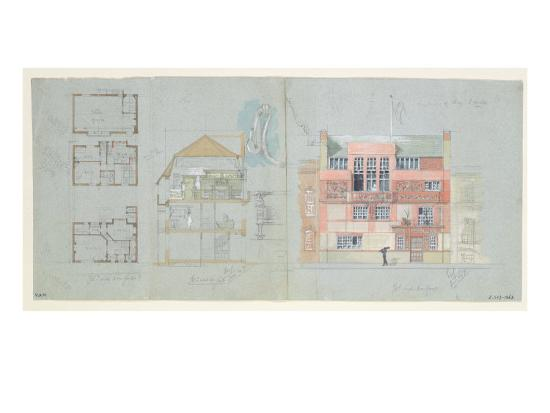 edward-william-godwin-front-elevation-and-section-for-house-and-studio-for-frank-miles