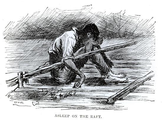 edward-windsor-kemble-asleep-on-the-raft-illustration-from-the-adventures-of-huckleberry-finn-by-mark-twain