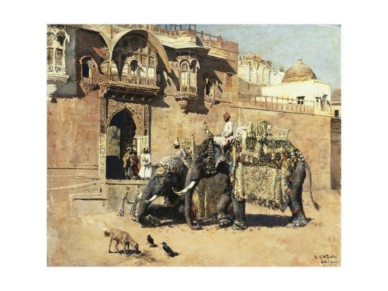 edwin-lord-weeks-elephants-outside-a-palace-jodhpore-india