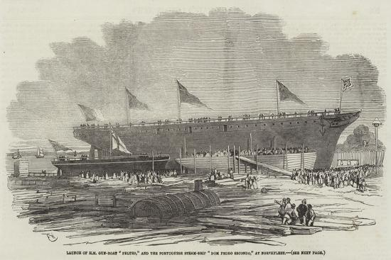 edwin-weedon-launch-of-hm-gun-boat-pelter-and-the-portuguese-steam-ship-dom-pedro-secondo-at-northfleet