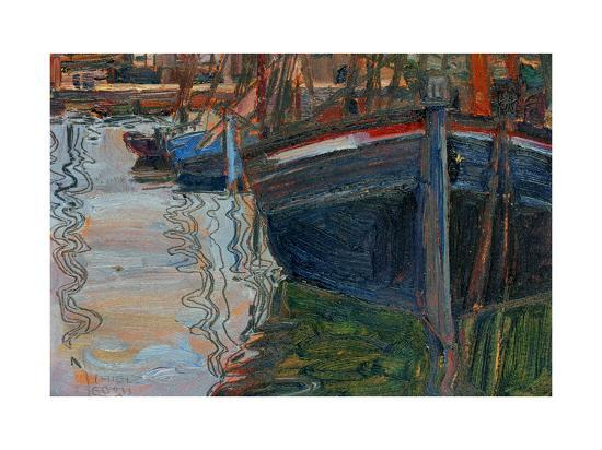 egon-schiele-boats-mirrored-in-the-water-1908