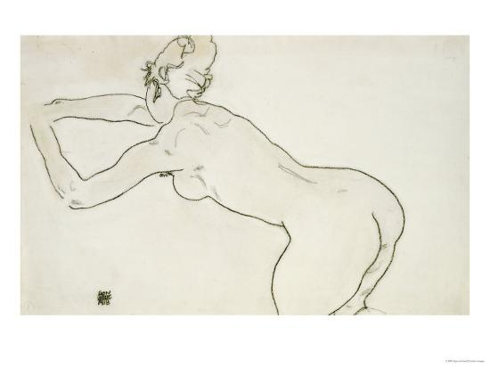 egon-schiele-female-nude-kneeling-and-bending-forward-to-the-left-1918