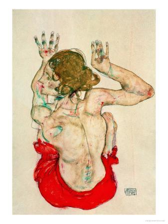 egon-schiele-female-nude-seated-on-red-drapery