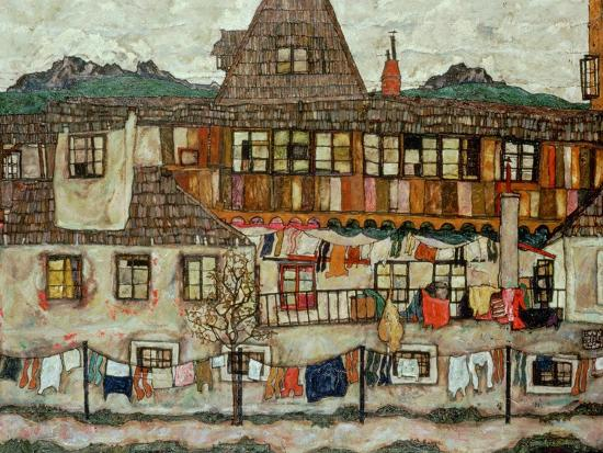 egon-schiele-house-with-drying-laundry-1917