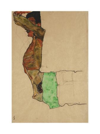 egon-schiele-reclining-male-nude-with-green-cloth-self-portrait