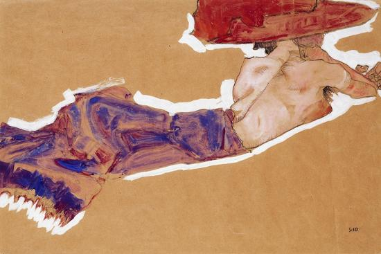egon-schiele-reclining-semi-nude-with-red-hat-1910