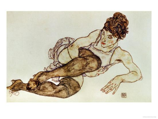 egon-schiele-reclining-woman-with-black-stockings-1917