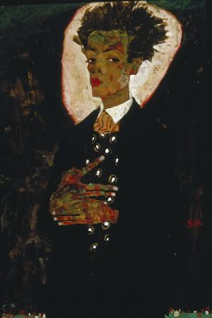 egon-schiele-self-portrait-with-peacock-vest-standing-1911
