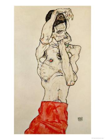 egon-schiele-standing-male-nude-with-red-loincloth-1914