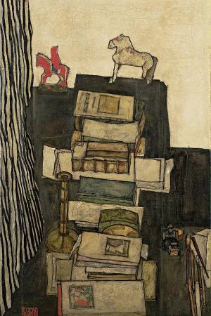 egon-schiele-still-life-with-books-1914