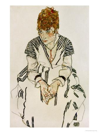 egon-schiele-the-artist-s-sister-in-law-in-striped-dress-seated-1917