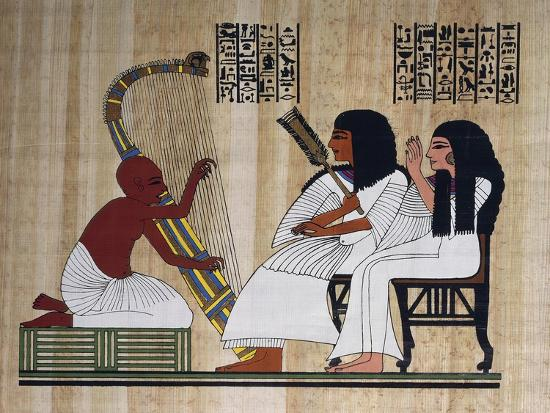 egyptian-papyrus-depicting-husband-and-wife-at-blind-harpist-performance