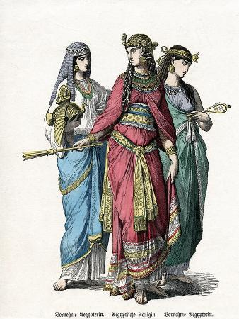 egyptian-queen-and-female-attendants-mid-19th-century