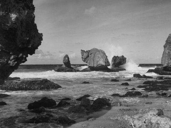 eliot-elisofon-waves-crashing-on-prominent-rock-formations-that-dot-coastline-of-the-caribbian-sea-west-indies